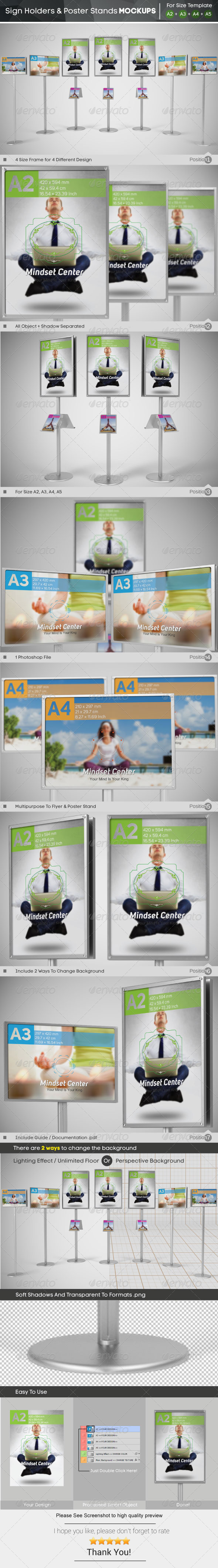 Sign Holder & Poster Stands Mockups - Signage Print