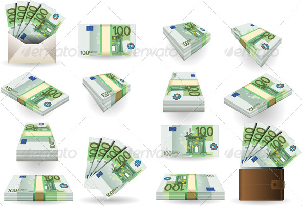Full Set of Hundred Euros Banknotes - Man-made Objects Objects