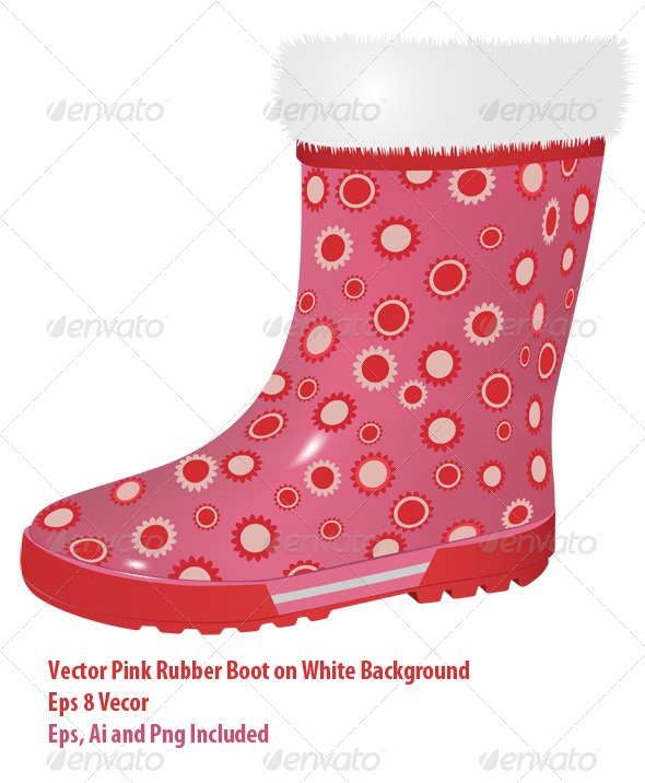 Pink Rubber Boot - Objects Vectors