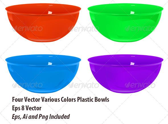 Plastic Bowls Set - Objects Vectors