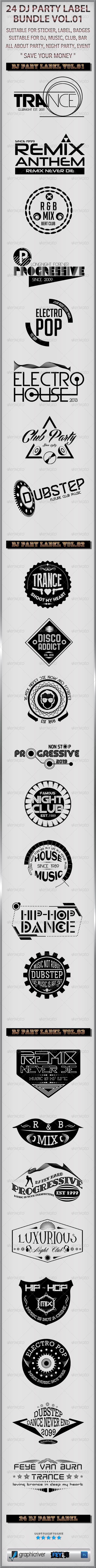 24 Dj Party Label Bundle Vol.01 - Badges & Stickers Web Elements