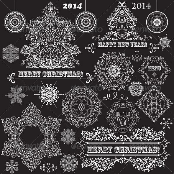 Vector Vintage Christmas Design Elements - Decorative Symbols Decorative