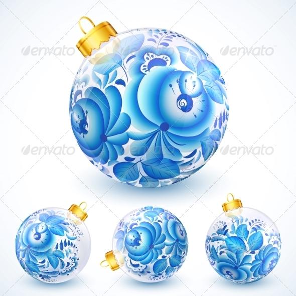 White Christmas Balls with Blue Floral Ornament - Christmas Seasons/Holidays