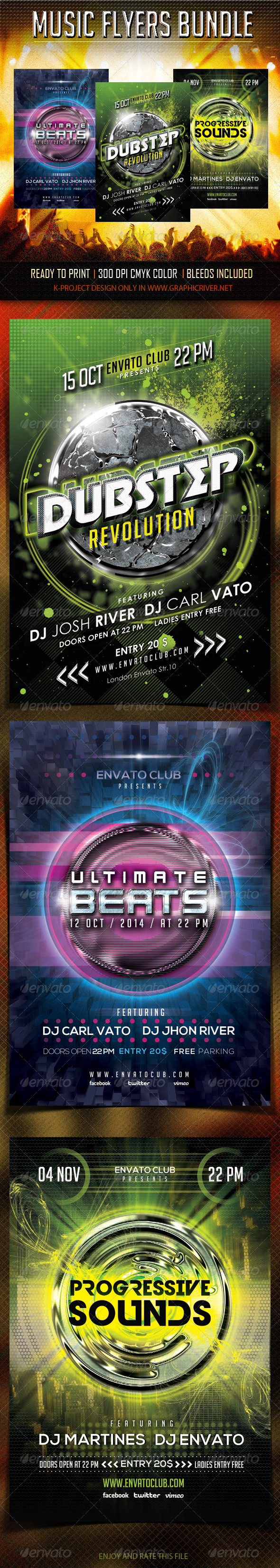 Music Flyers Bundle - Clubs & Parties Events