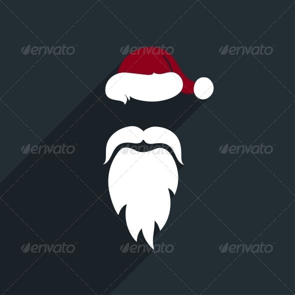 Flat Design Vector Santa Claus Face. Icon. Greetin - Christmas Seasons/Holidays