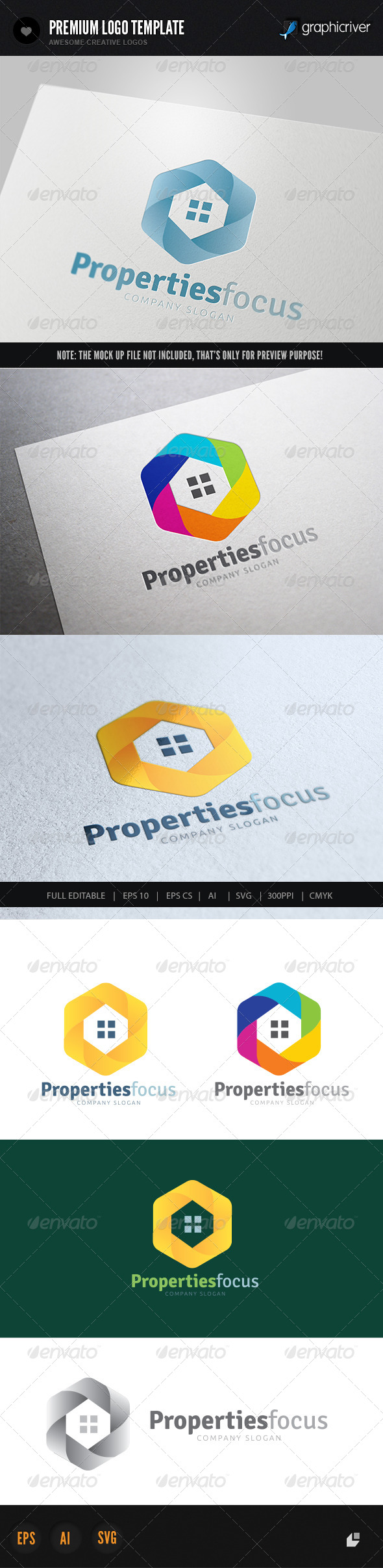Properties Focus - Buildings Logo Templates