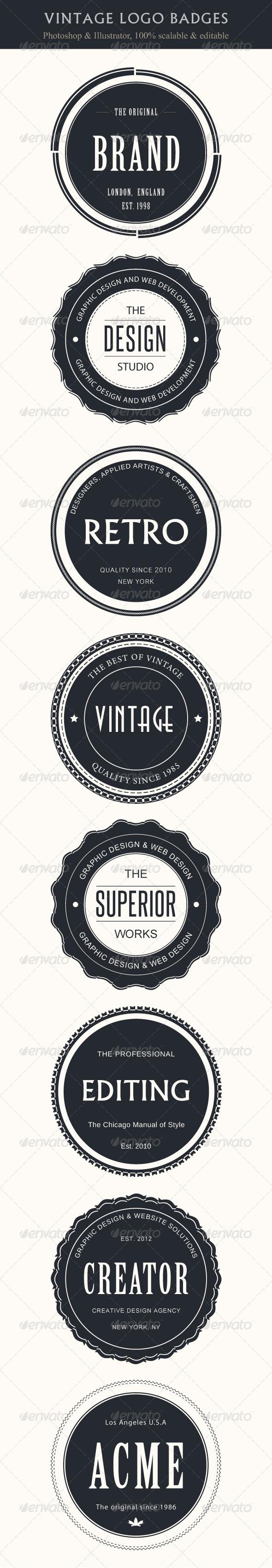 Vintage Logo Badges  - Badges & Stickers Web Elements