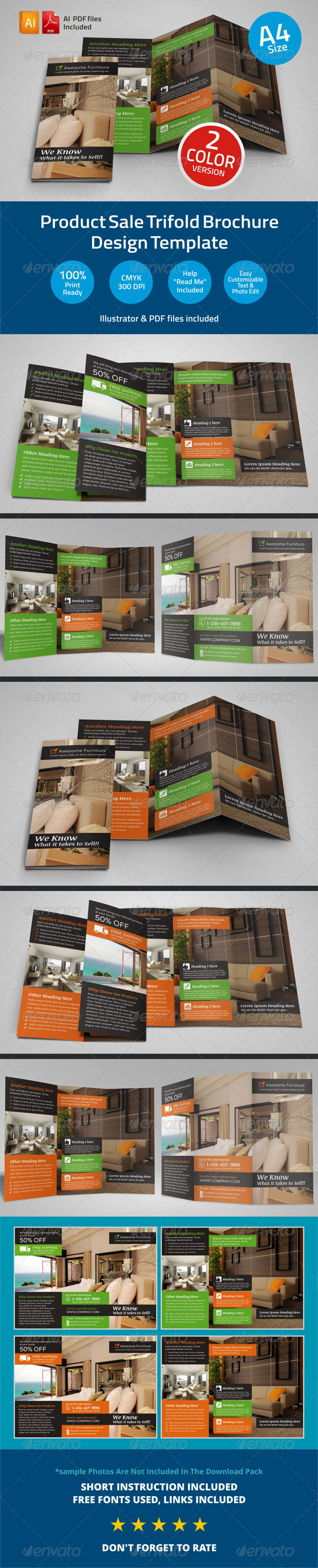 Product Sale Trifold Brochure Template - Catalogs Brochures