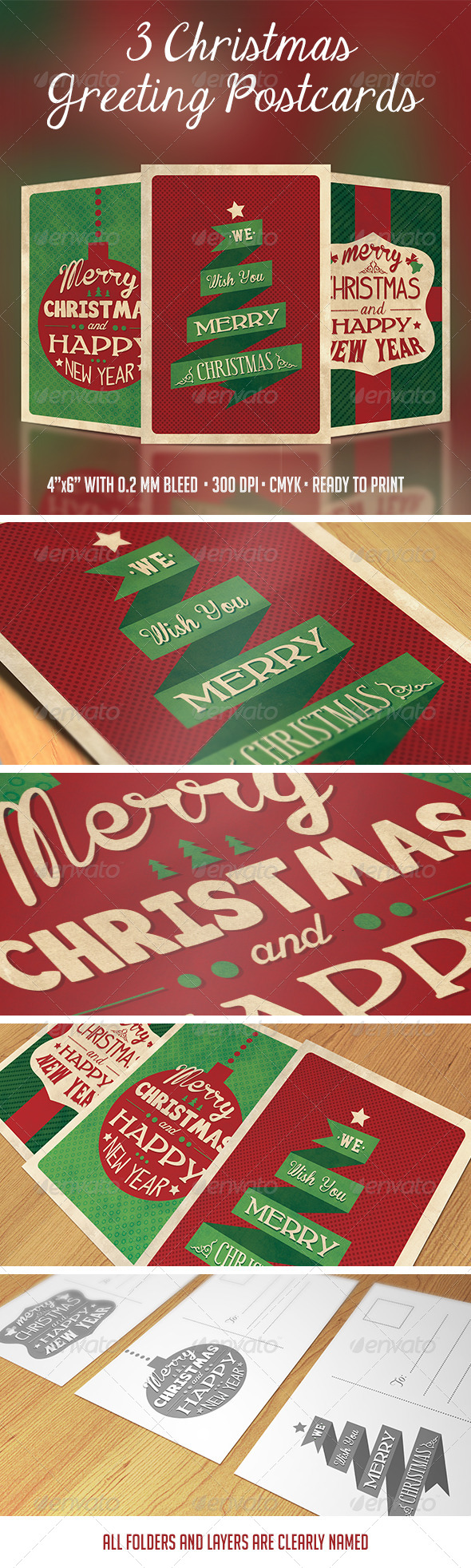 3 Christmas Greeting Postcards - Holidays Events