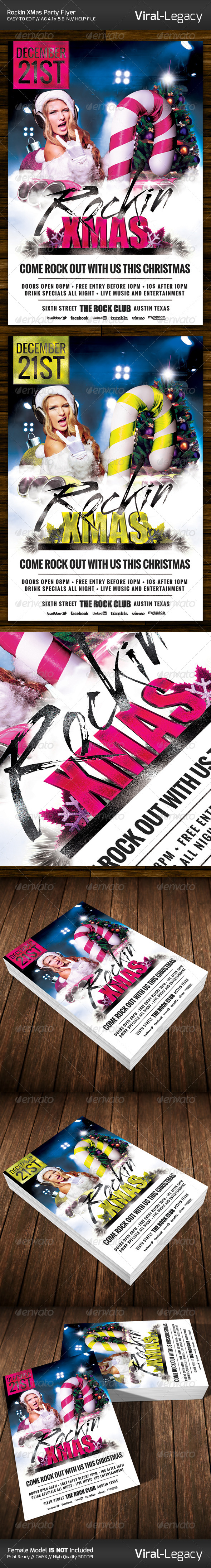 Rockin XMas Party Flyer - Events Flyers