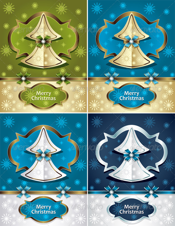 Christmas Tree from Paper with Bow Ribbon Snowflake - Seasons/Holidays Conceptual