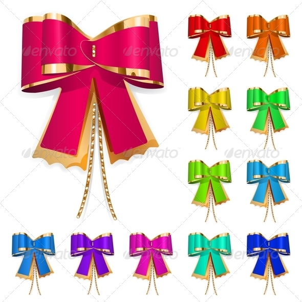 Set Of Multicolored Bows - Decorative Symbols Decorative