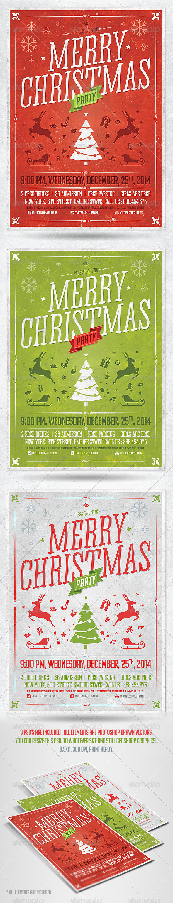 Retro Christmas Party Flyer Template - Holidays Events