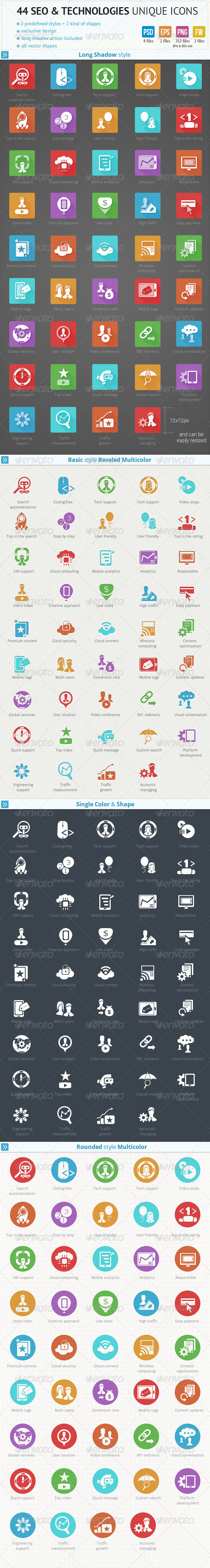 44 SEO and Technologies Unique Icons - Technology Icons