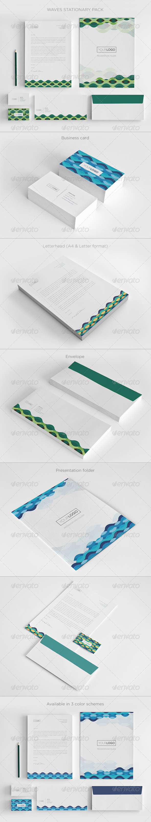 Waves Stationary Pack - Stationery Print Templates