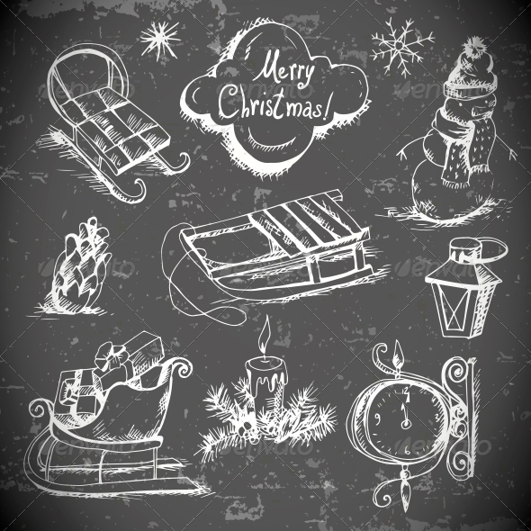 Hand-Drawn New Year and Christmas Set - Patterns Decorative
