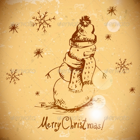 Hand-Drawn Vintage Greeting Card with Snowman - Patterns Decorative
