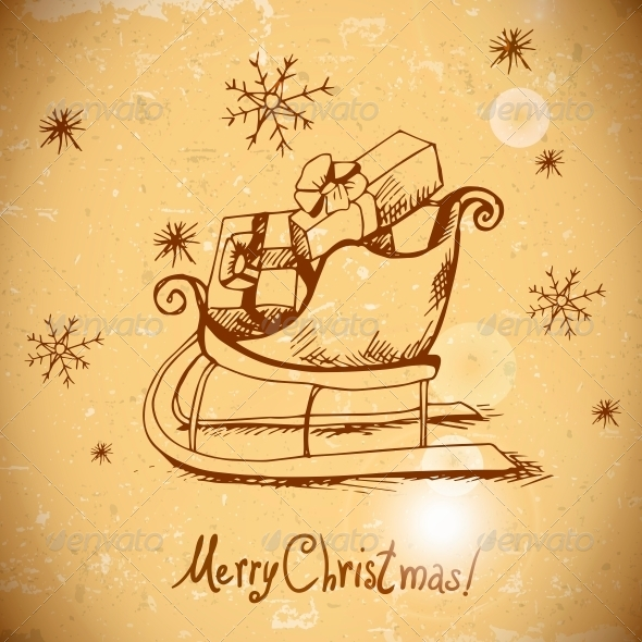 Vintage Greeting Card with Christmas Sleigh - Patterns Decorative