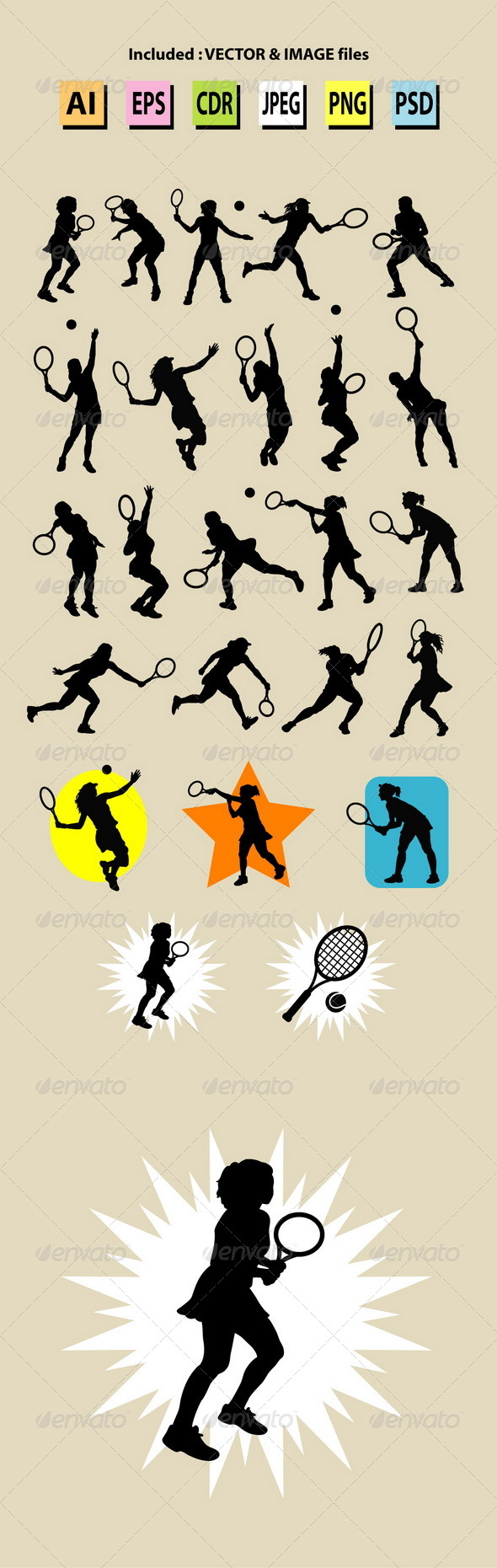 Female Tennis Sport Silhouettes - Sports/Activity Conceptual