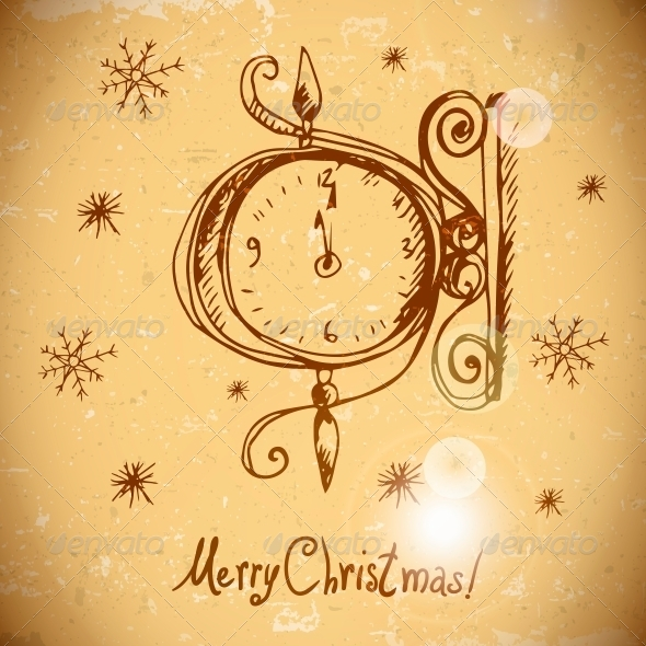 Hand-Drawn Vintage Greeting Card with Clock - Backgrounds Decorative