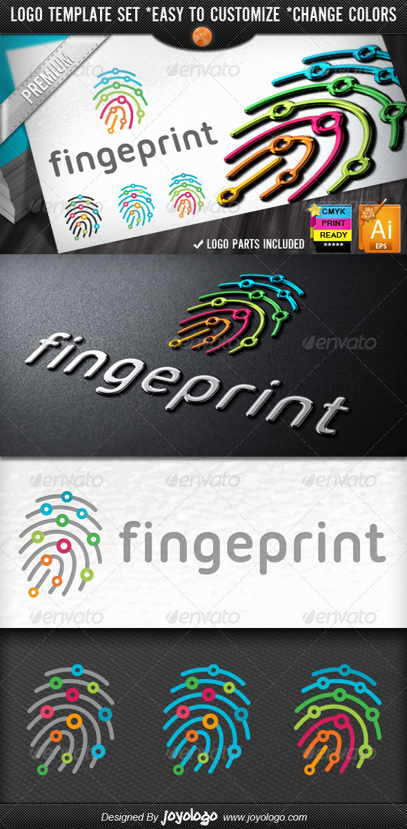 Digitally Circuits Security Finger Print Logo Temp - Symbols Logo Templates
