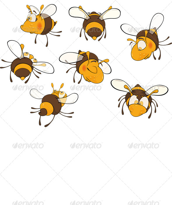 Bee Clip Art Cartoon - Animals Characters