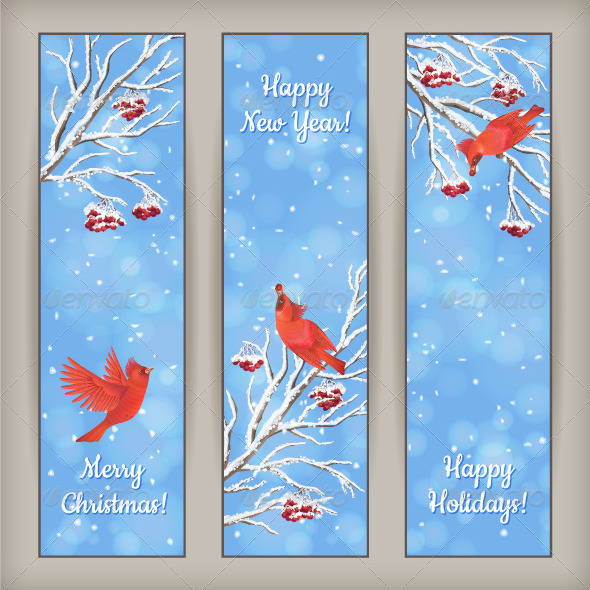 Vertical Christmas Banners Bird Rowan Branches - Christmas Seasons/Holidays