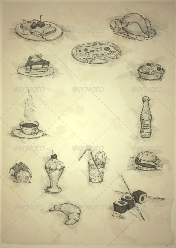 Set of Hand Drawn Various Elements  - Food Objects