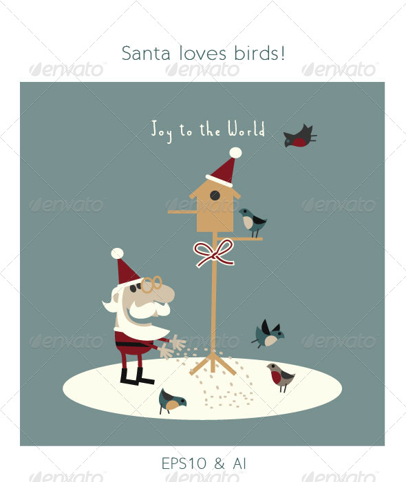 Santa Feeding Birds in Snow - Christmas Seasons/Holidays