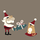 Santa Giving a Christmas Gift to his Cat - GraphicRiver Item for Sale