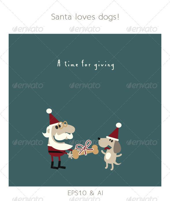 Santa Giving his Dog a Christmas Bone - Christmas Seasons/Holidays