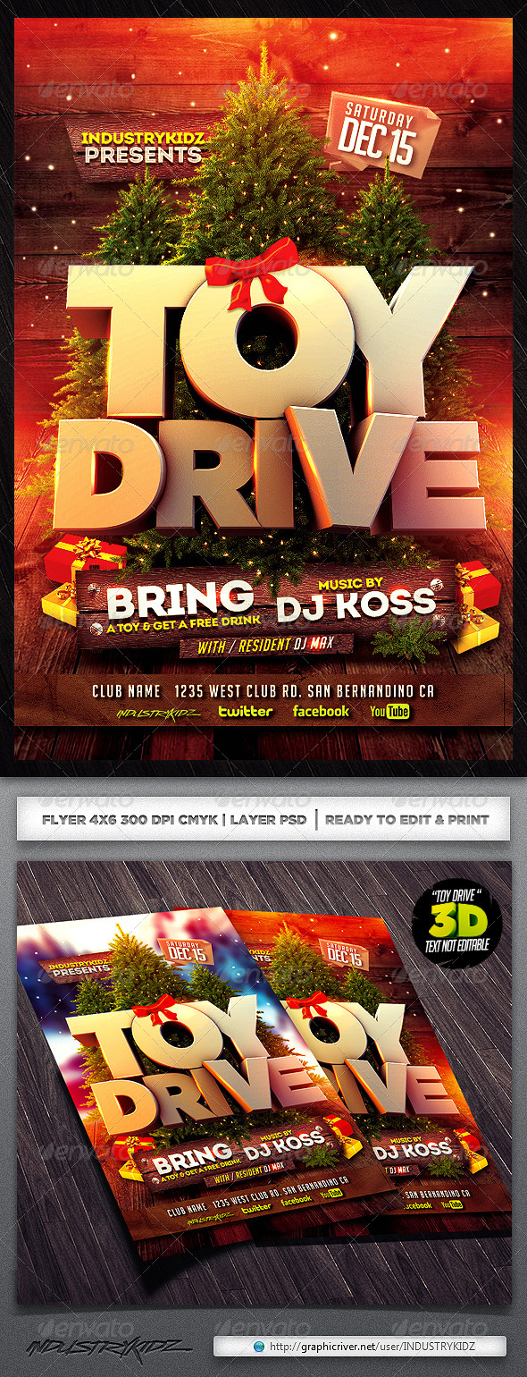 Toys For Tots Food : Toy drive flyer template by industrykidz graphicriver