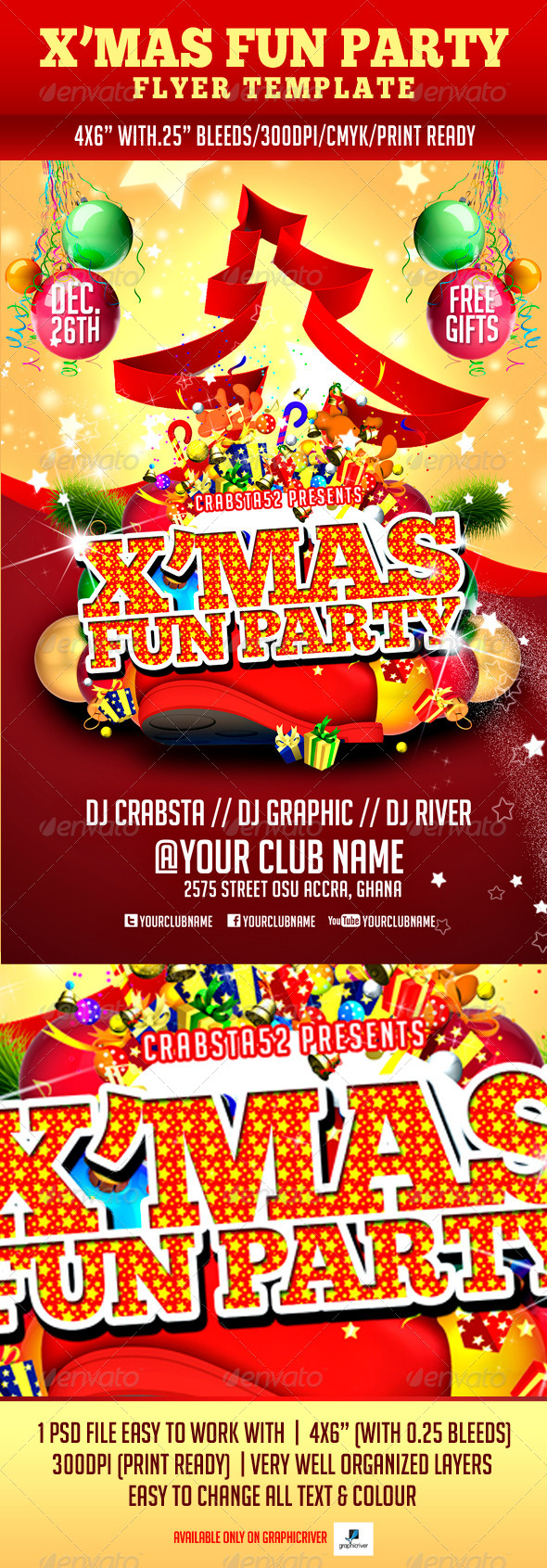 X'mas Fun Party Flyer Template - Holidays Events