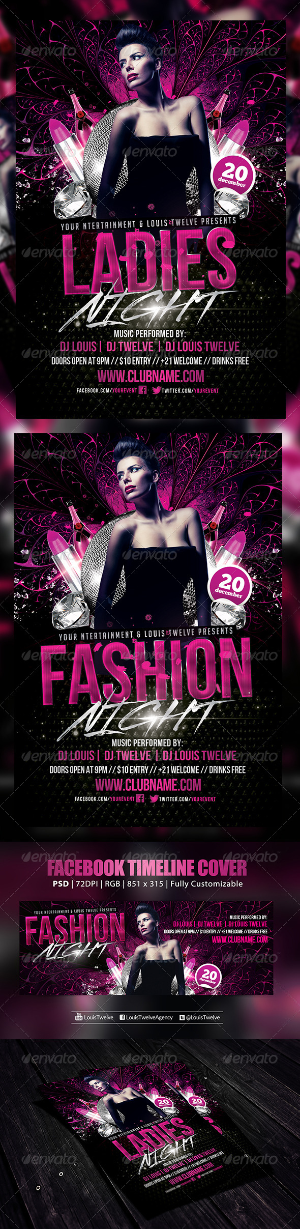 Ladies Night   Flyer + FB Cover - Clubs & Parties Events
