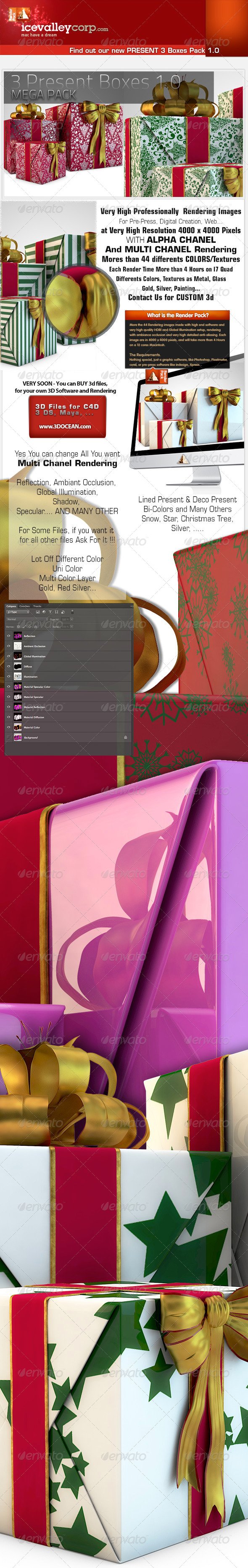 3 Present Pack Present Boxes in Hires - Objects 3D Renders