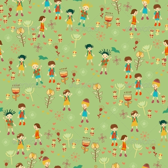 Green Child's Background with Flowers - Patterns Decorative