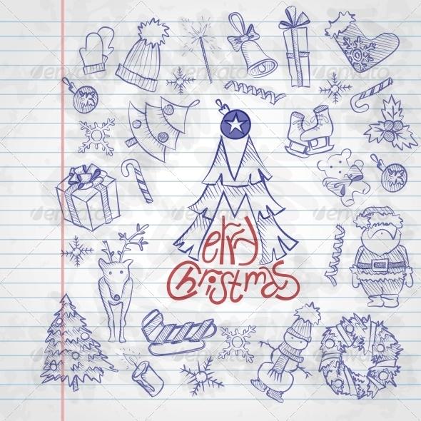 Hand Drawn Christmas Set. - Christmas Seasons/Holidays