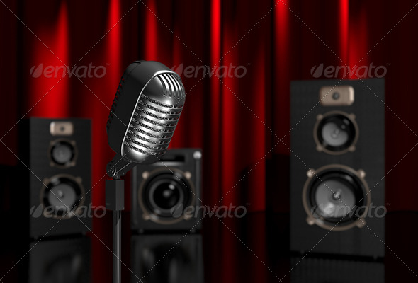 Microphone and Speakers - Abstract 3D Renders