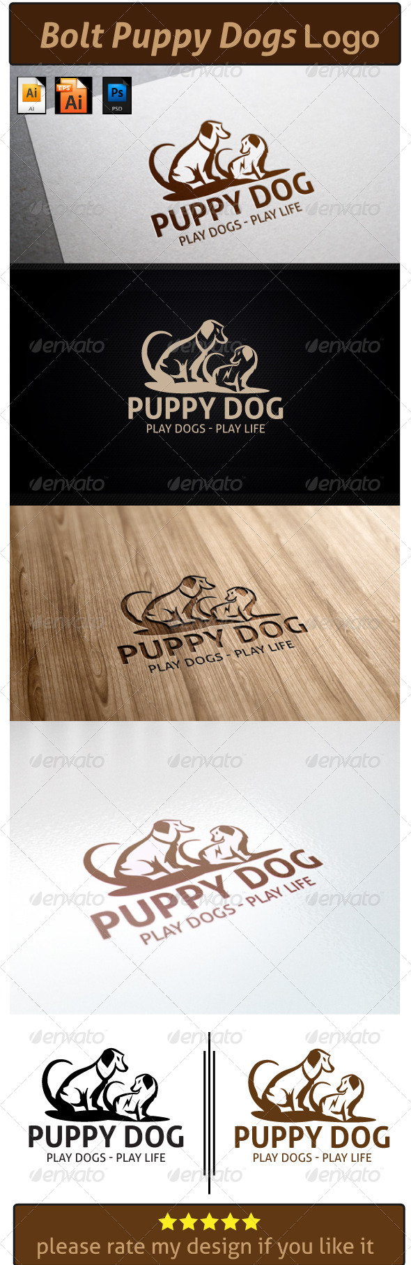 Bolt Puppy Dogs Logo - Animals Logo Templates