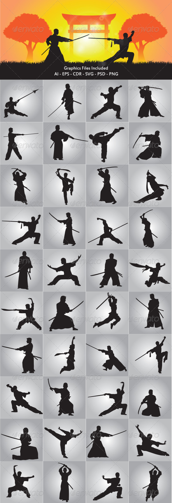Wushu and Samurai Silhouette - Sports/Activity Conceptual