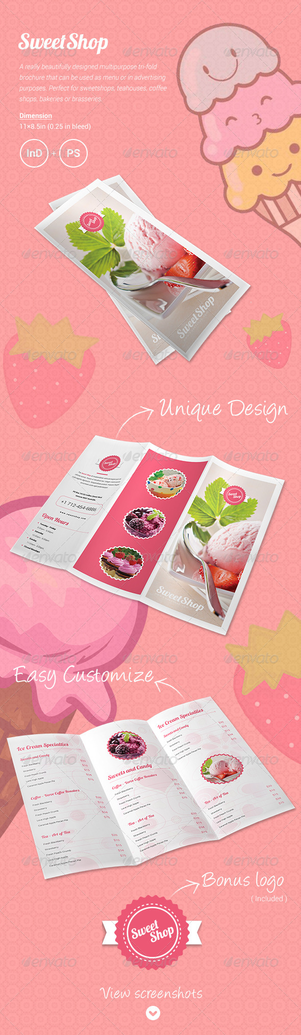 Sweet Shop Menu Tri-fold Brochure - Food Menus Print Templates