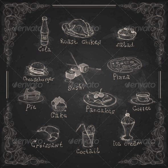 design elements for the menu on a chalkboard by helenstock