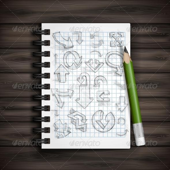 Set of Hand Drawn Doodle Arrows.  - Decorative Symbols Decorative
