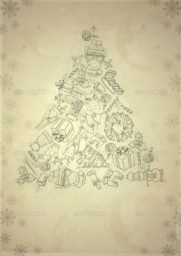 Hand Drawn Christmas Set. - Christmas Seasons/Holidays
