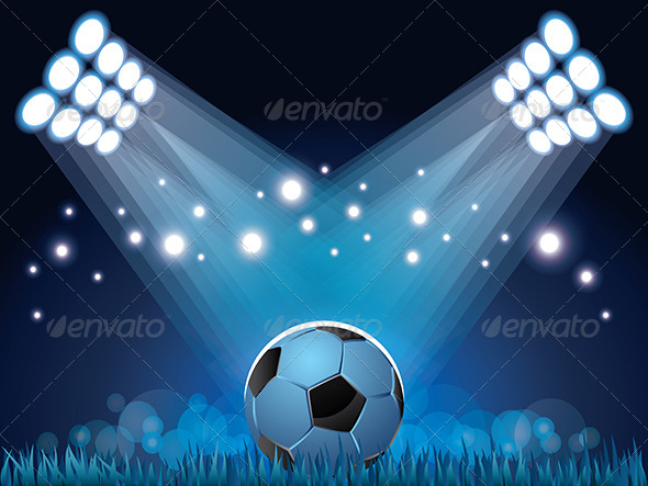 Stadium Lights and Soccer Ball Background - Sports/Activity Conceptual