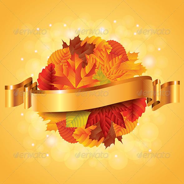 Autumn Poster with Leaves Sphere and Ribbon - Seasons Nature