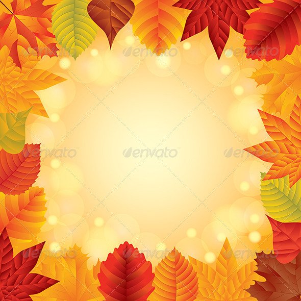 Autumn Leaves Vector Frame - Seasons Nature