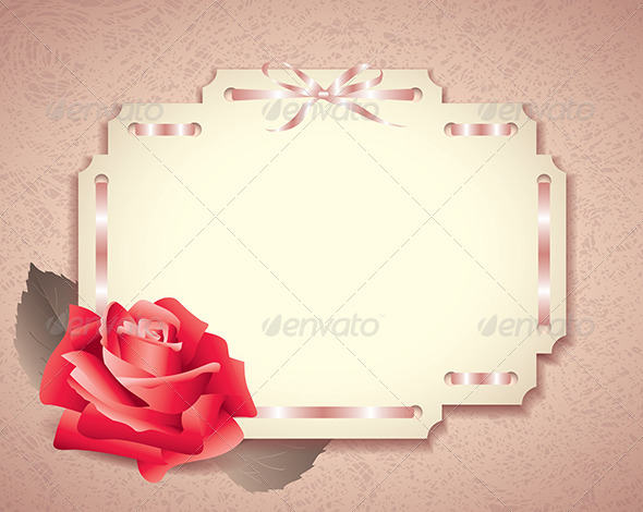 Greeting Card in Retro Style with Rose - Backgrounds Decorative