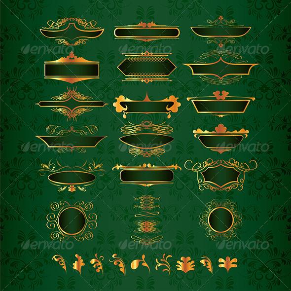 Luxury Golden Decor Elements in Vector - Flourishes / Swirls Decorative