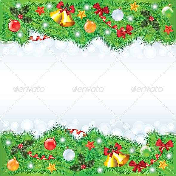 Christmas Frame with Decorated Fir-Trees - Christmas Seasons/Holidays